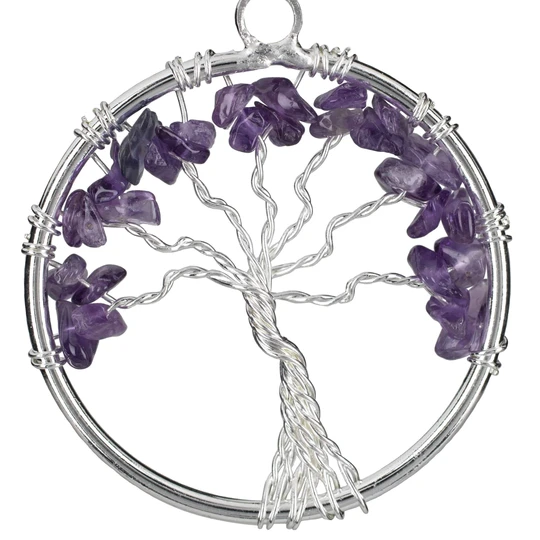 Amethyst Chakra Gemstone Tree of Life Necklace