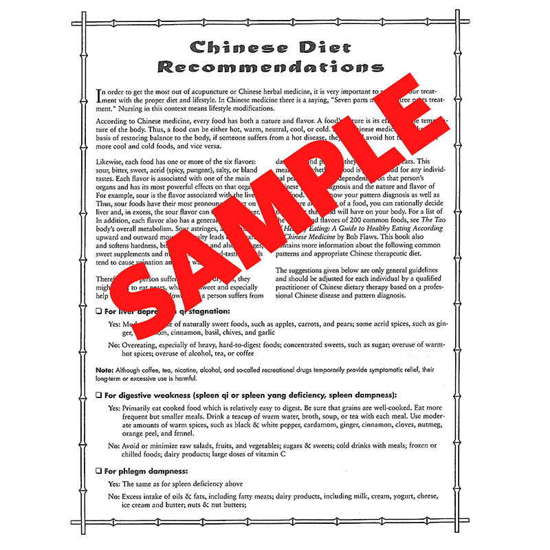 Chinese Dietary Recommendations 100 Count
