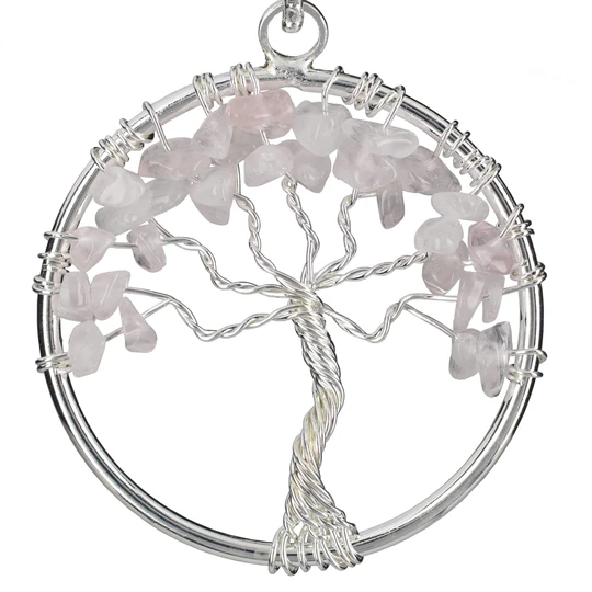 Rose Quartz Chakra Gemstone Tree of Life Necklace