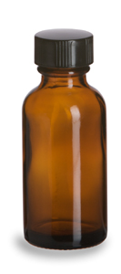 Amber Round Glass Bottle, 2 oz. w/ Cap