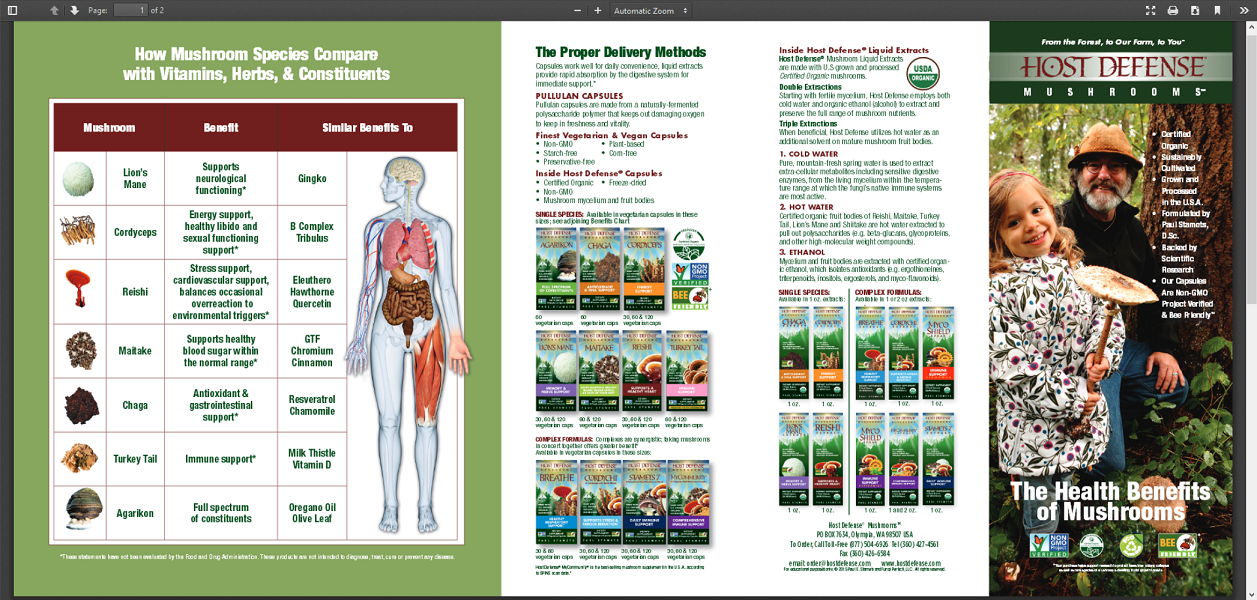 Health Benefits of Mushrooms Brochure Download