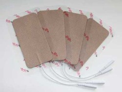 "2.4"" x 4.0"" Electrodes, Tan Cloth, Tyco Gel"