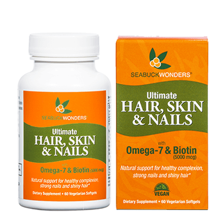 Ultimate Hair, Skin & Nails w/Omega-7 & Biotin, 60 veg Softgels