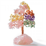 Multi-Gemston Tree of Life on Rose Quartz Base with 414 gemstones