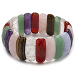 Faceted Multi-Natural Gemstone Stretch Bracelet