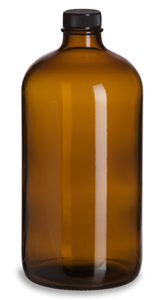 Amber Round Glass Bottle, 32 oz w/ Std Cap
