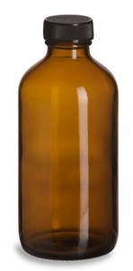 Amber Round Glass Bottle, 8 oz w/ Std Cap