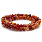 Carnelian 6mm Bead Triple Wrap Elastic Gemstone Bracelet
