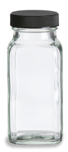 Clear Square Glass Bottle, 6 oz w/ Cap