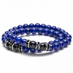 Lapis Beads with Black Agate and Black & Silver Accent Beads Double Wrap Elastic Gemstone Bracelet