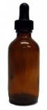Amber Round Glass Bottle, 2 oz. w/ Dropper